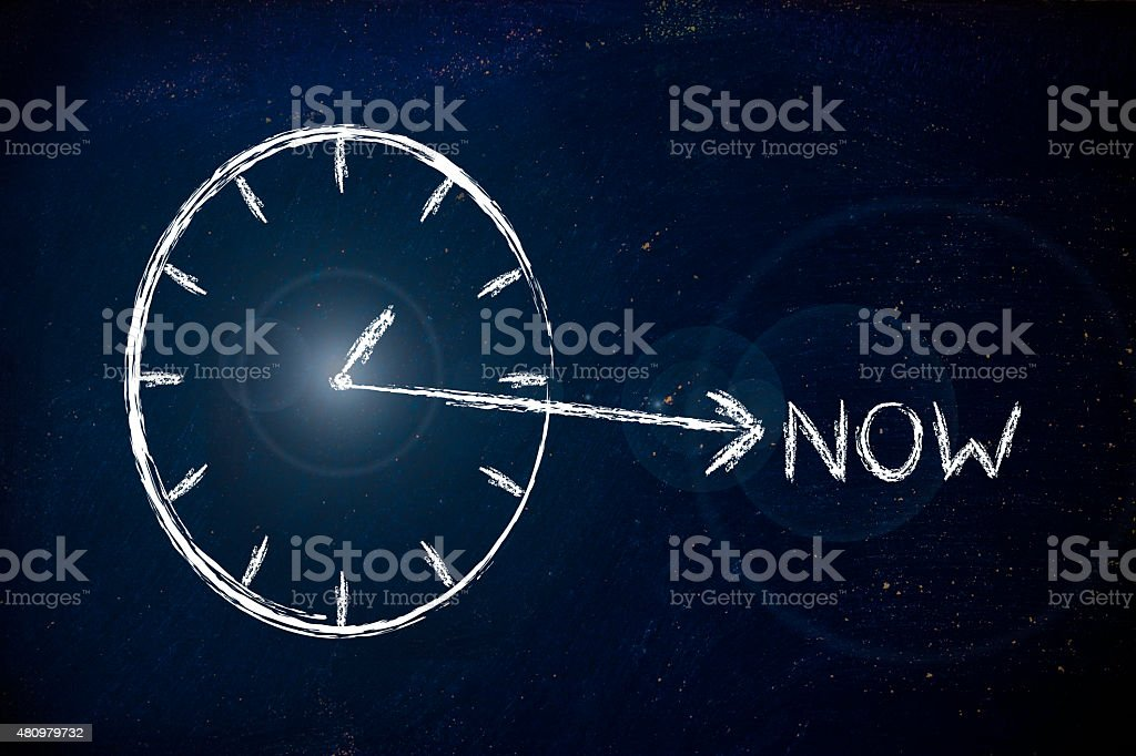 the time to get creative is now stock photo