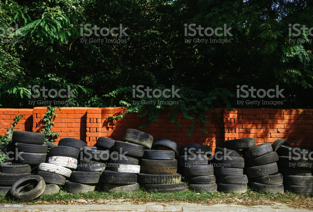 The tires on the side of the road royalty-free stock photo