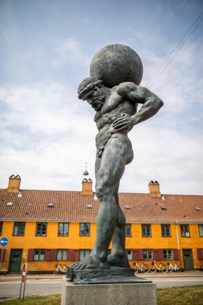 The Titan Atlas carrying the heavens on his shoulders, Copenhagen, Denmark stock photo