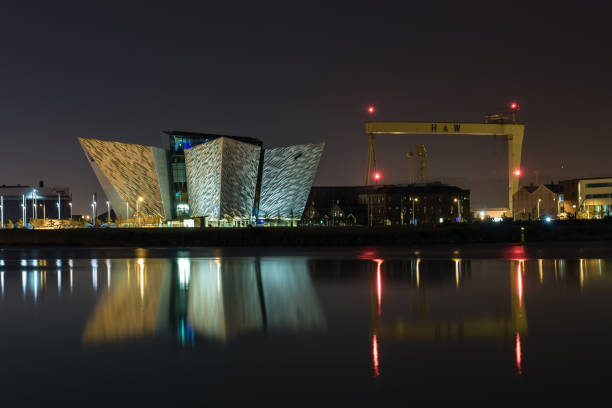 The Titanic building and H&W cranes reflecting in the Lagan.