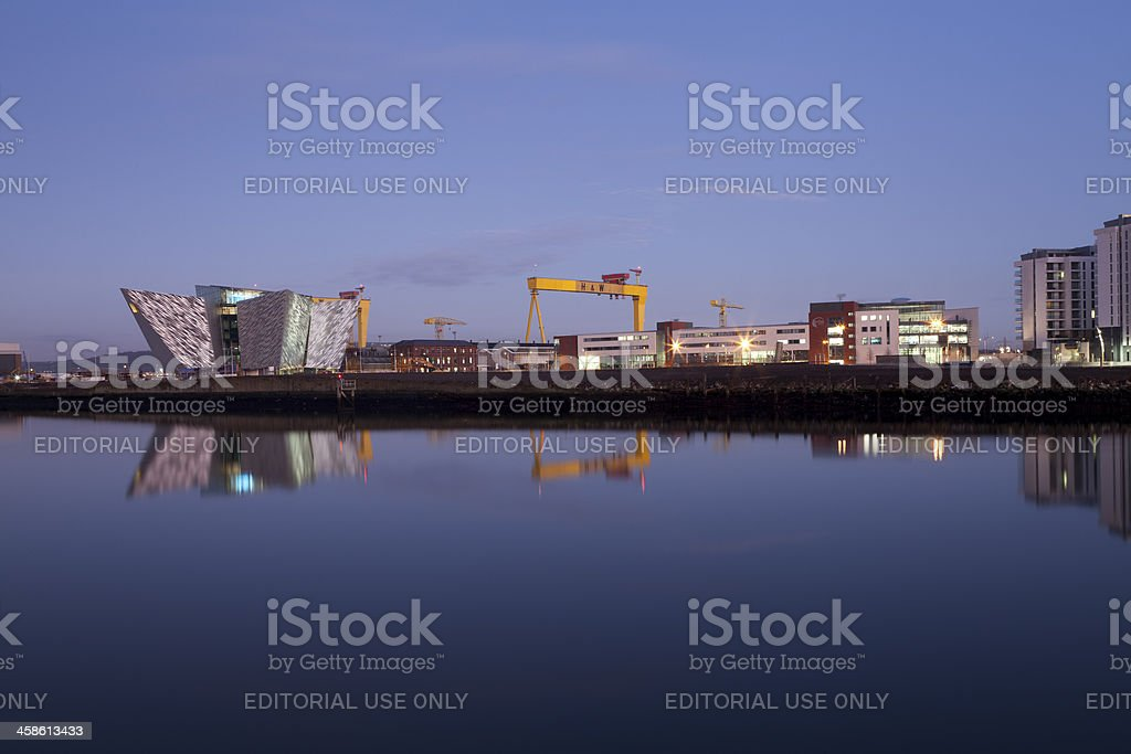The Titanic Visitor Centre Building At Dusk Belfast Northern Ireland stock photo