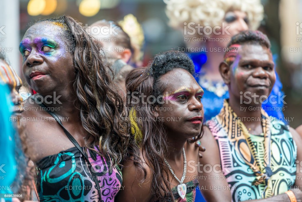 The Tiwi Islands Sistagirls on Mardi Gras stock photo