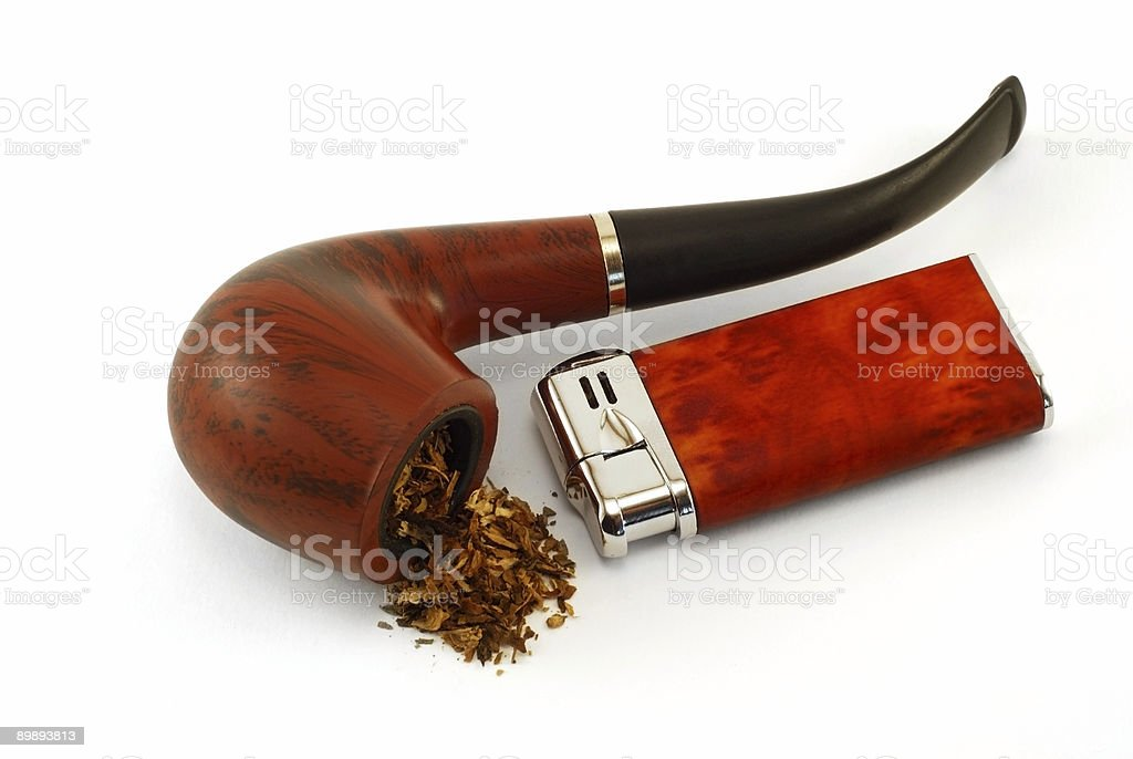 The tobacco-pipe and lighter2 royalty-free stock photo