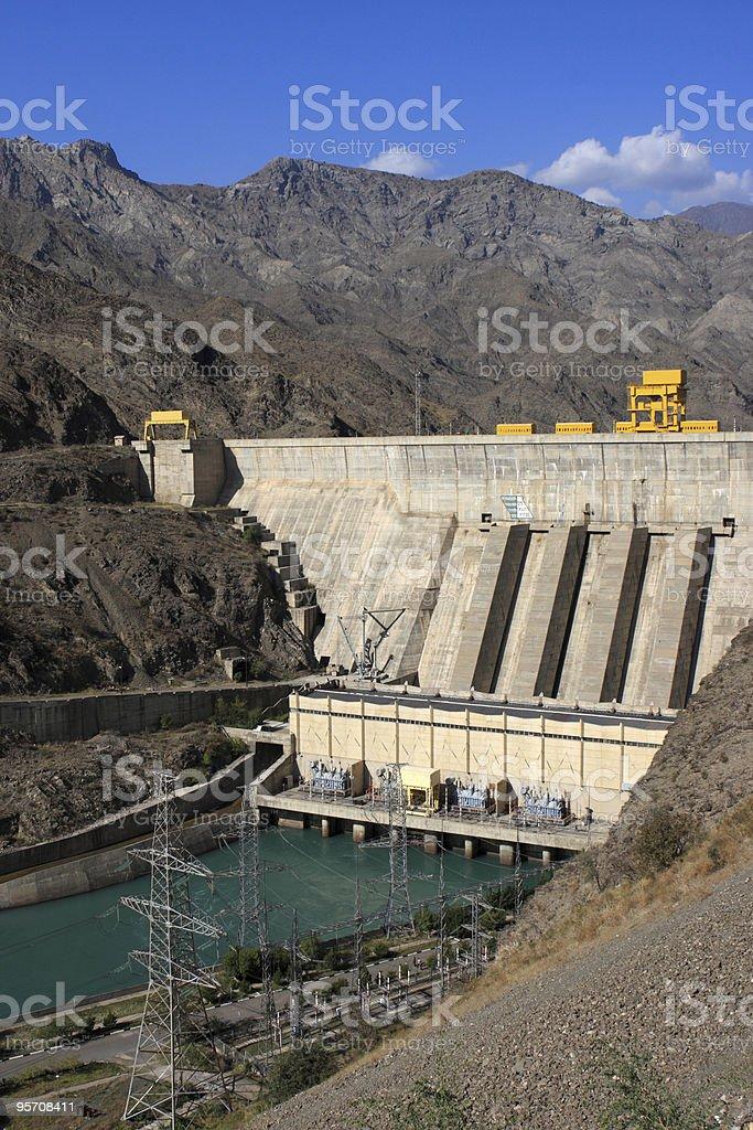 The Toktogul hydroelectric power station stock photo