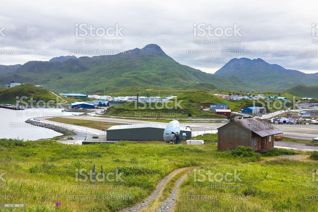 The Tom Madsen Airport in Dutch Harbor, Unalaska, Alaska. stock photo
