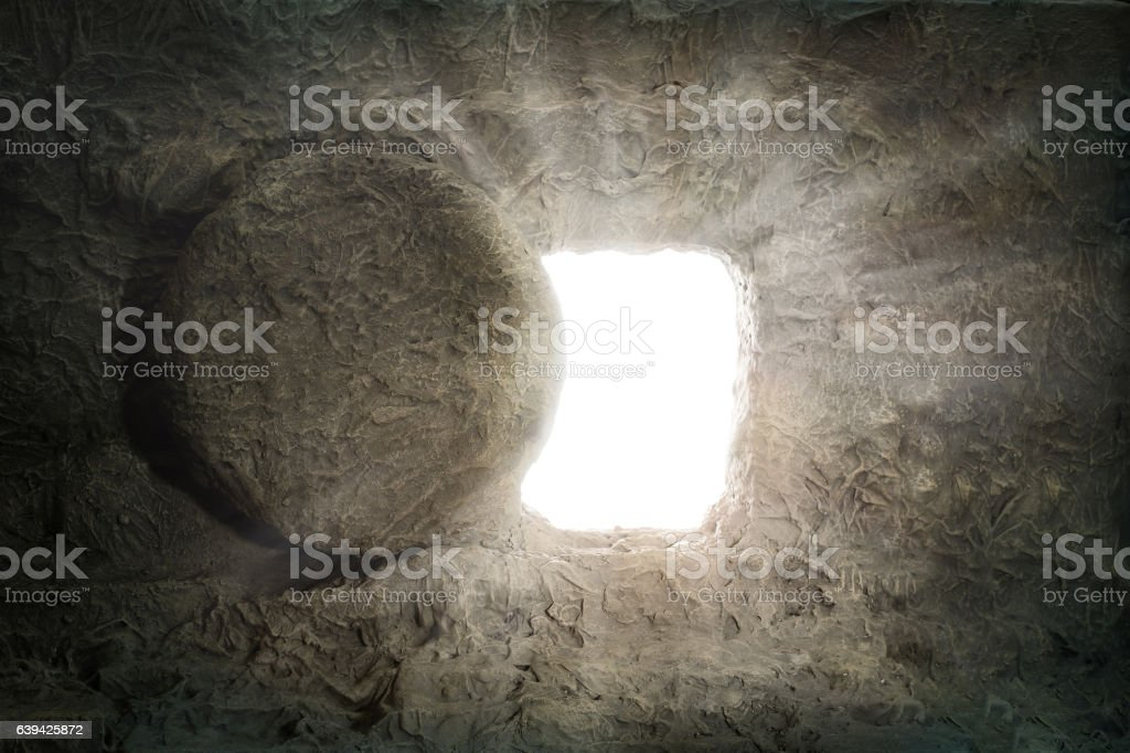 The Tomb of Jesus With Light Coming from Inside stock photo