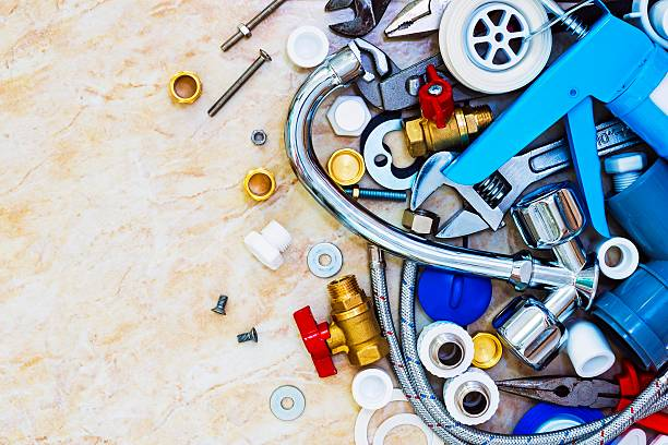 The tool and materials for sanitary works stock photo