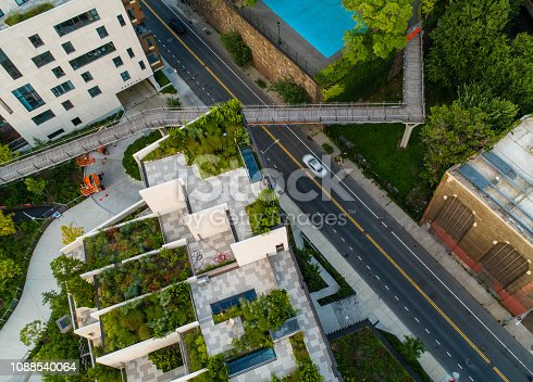 The top view directly above aerial photo of the Squibb Park with the pedestrian bridge in Brooklyn, New York City, USA