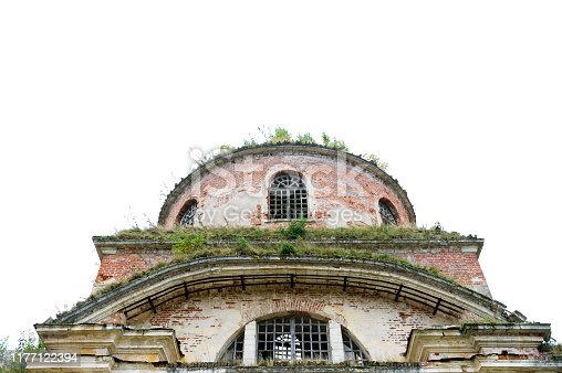 the top of an abandoned antique windowless building with vegetation on the walls and roof