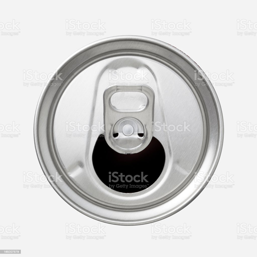 The top of an aluminum soda can with the ring pull showing stock photo