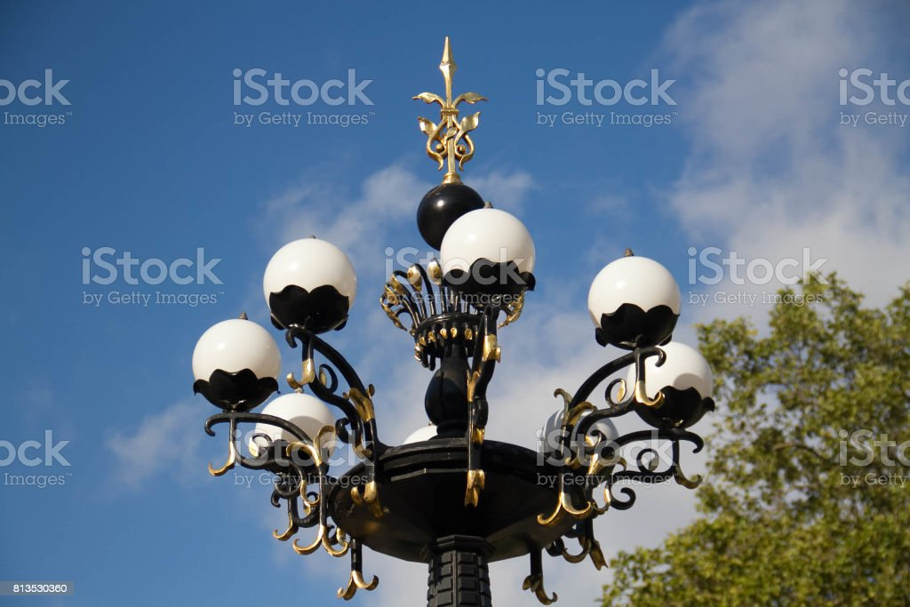 The top of Cherry Hill fountain with blue sky in summer at Central Park stock photo