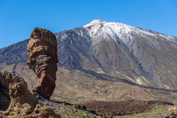 The top of Teide mountain seen from the Roques de García, in Parque Natural del Teide stock photo