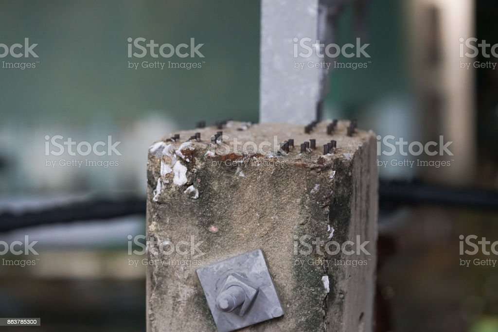 the top of the electric pole as the old power transmission system. stock photo