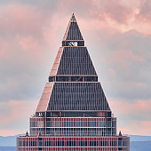 "Frankfurt, Germany, October 2., 2019: The top of the Messe Tower, popularly known as ""Toblerone"" because of its triangular shape."
