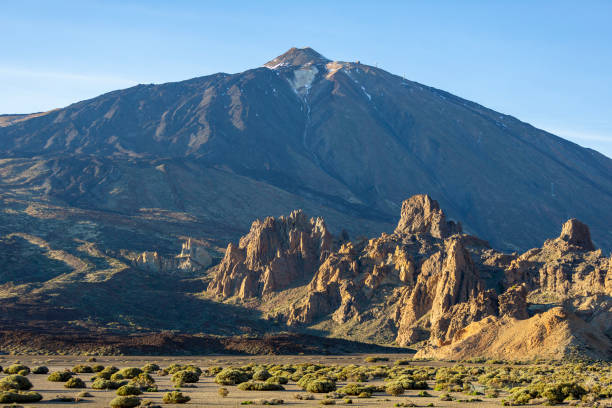 The top of the Teide mountain during a sunset, in Tenerife, Canary Islands, Spain stock photo