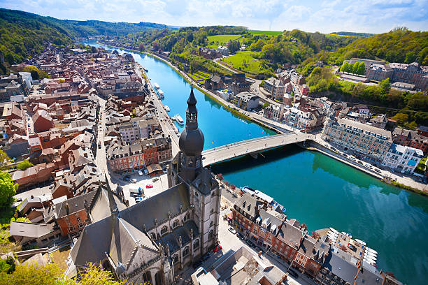 The top view of Pont Charles de Gaulle bridge The top view of Pont Charles de Gaulle bridge over Meuse river in Dinant, Belgium belgium stock pictures, royalty-free photos & images