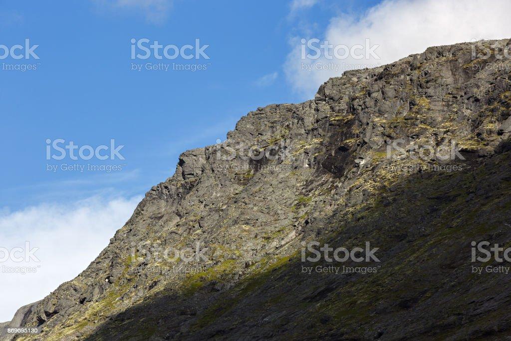 The tops of the Mountains, Khibiny  and cloudy sky. Kola Peninsula, Russia. stock photo