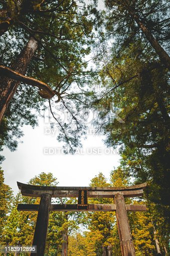 Nikko, Japan - August 12, 2019: The Torii gate at entrance of Nikko Toshogu Shrine, Nikko, n the
