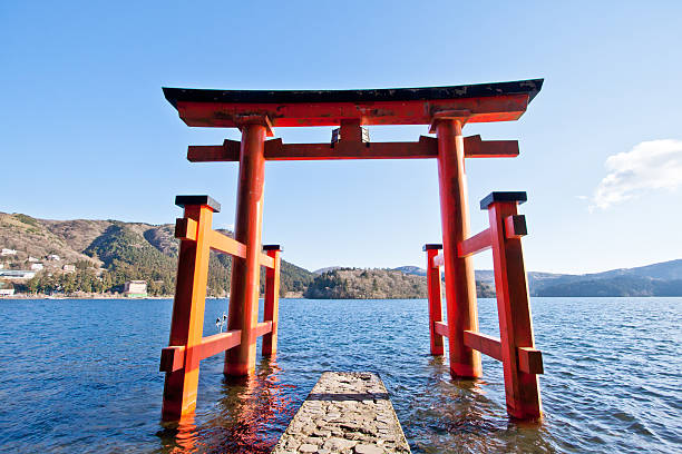 The torii gate which stand on the shore of Lake Ashi The torii gate which stand on the shore of Lake Ashi, near Mount Fuji in Japan. torii gate stock pictures, royalty-free photos & images