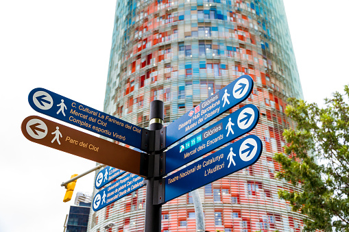 The Torre Glories, formerly known as Torre Agbar and some street signs in Barcelona, Spain