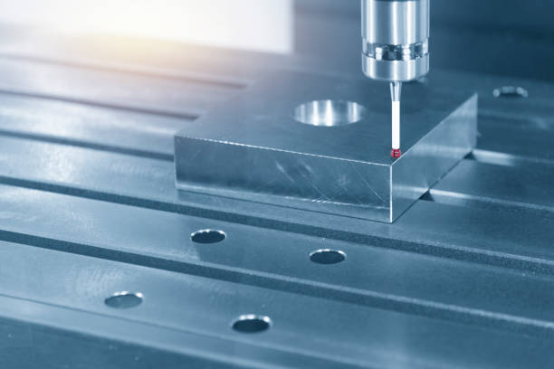The touching probe attach on CNC machine setting the work pieces. The touching probe attach on CNC machine setting the work pieces. The quality control on CNC milling machine. dimensionality stock pictures, royalty-free photos & images