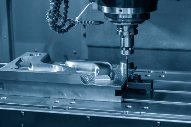 The touching probe attach on CNC machine setting the work pieces. The touching probe attach on CNC machine setting the work pieces. The quality control processing  on CNC milling machine. dimensionality stock pictures, royalty-free photos & images