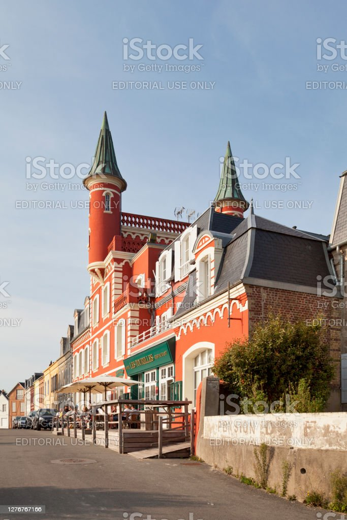 The Tourelles Hotel in Le Crotoy Le Crotoy, France - September 11 2020: The Hôtel Les Tourelles is located oposite the beach. Architecture Stock Photo