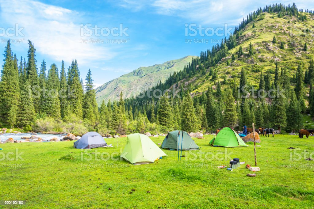 The tourist camp in the Tien Shan mountains, Kyrgyzstan. стоковое фото