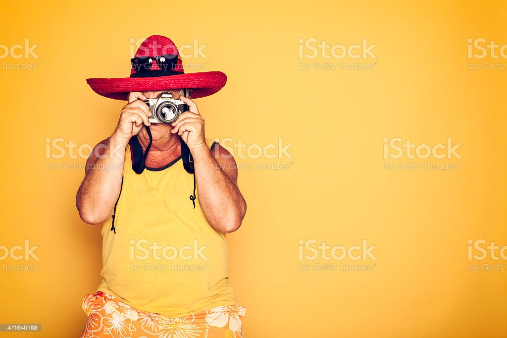 The Tourist - Cool Camera Sombrero Humor Hawaiian royalty-free stock photo