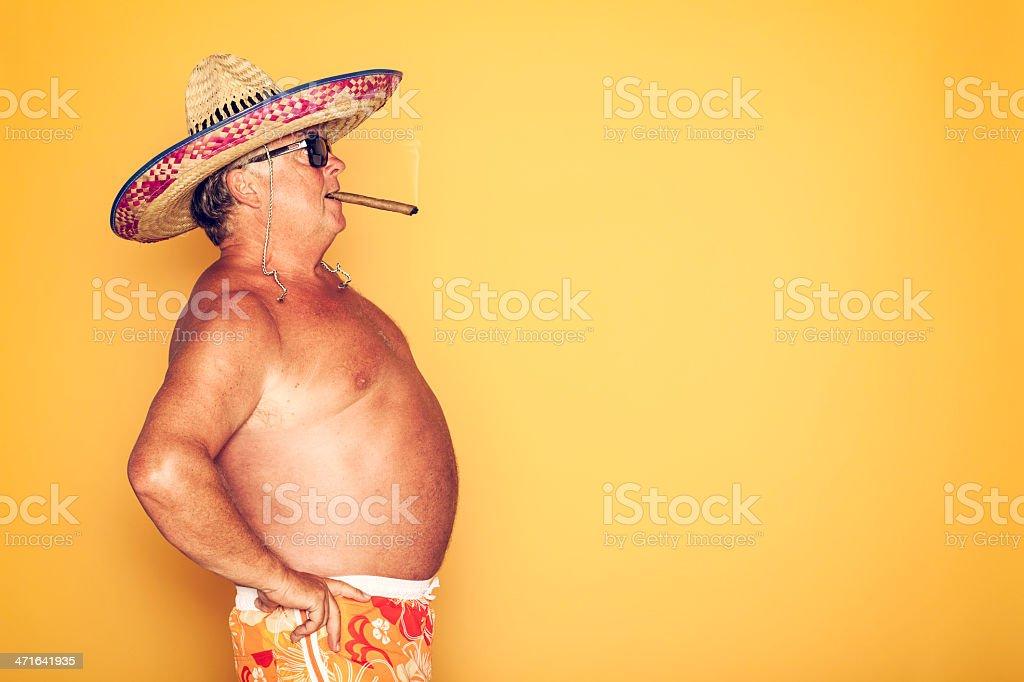 The Tourist - Cool Cigar Sombrero Humor Hawaiian royalty-free stock photo