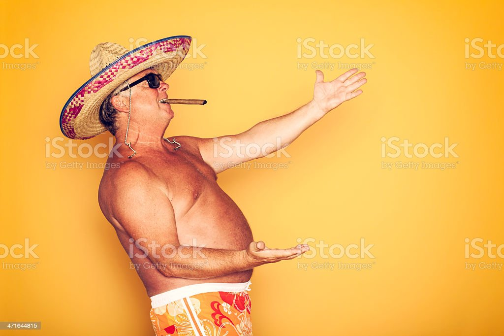 The Tourist - Cool Cigar Sombrero Humor Hawaiian royalty-free stock photo