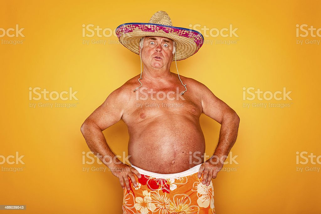 The Tourist - Cool Sombrero Humor Hawaiian stock photo