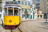 The yellow 28E tourist tram in the Graça neighbourhood of Lisbon, the capital of Portugal