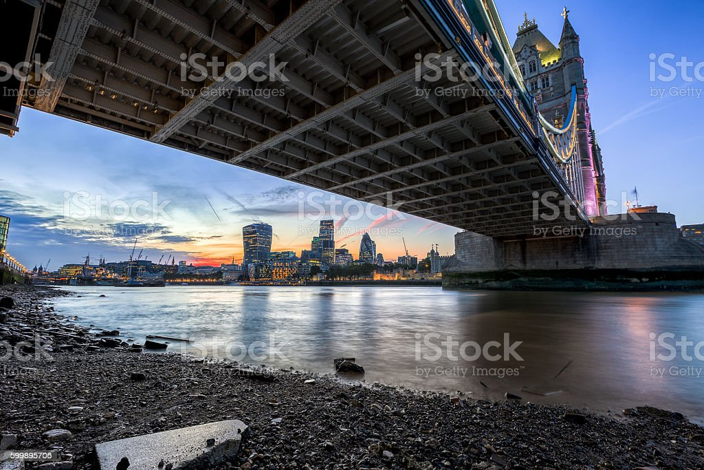 The Tower Bridge in London at dusk, seen from below stock photo