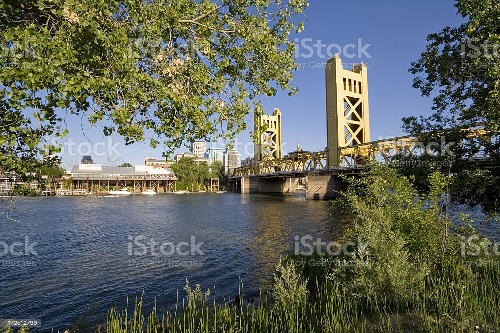 The tower bridge in Sacramento California royalty-free stock photo