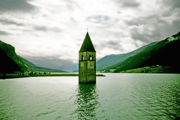 The tower in the middle of the lake stock photo