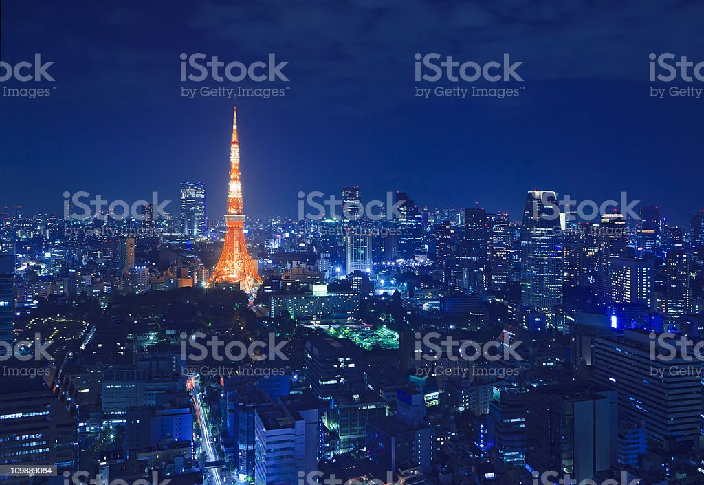 the tower in tokyos skyline at night royalty-free stock photo