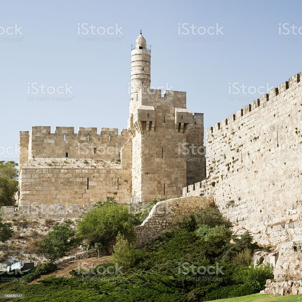 The tower of David in Jerusalem stock photo