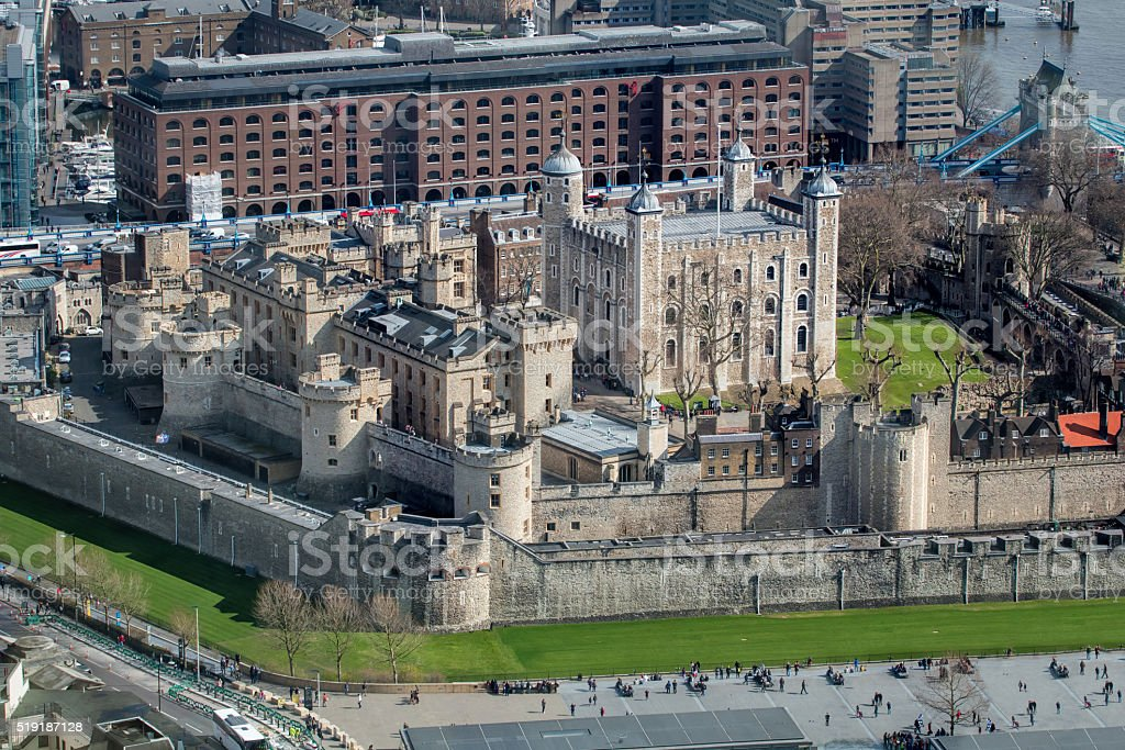 The Tower of London, Aerial View. Historic Tourism Landmark Building stock photo