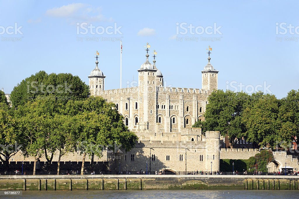 The Tower of London as seen from the River Thames in the sun stock photo