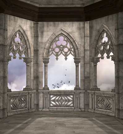 Old balcony overlooking a cloudy sky – 3D illustration