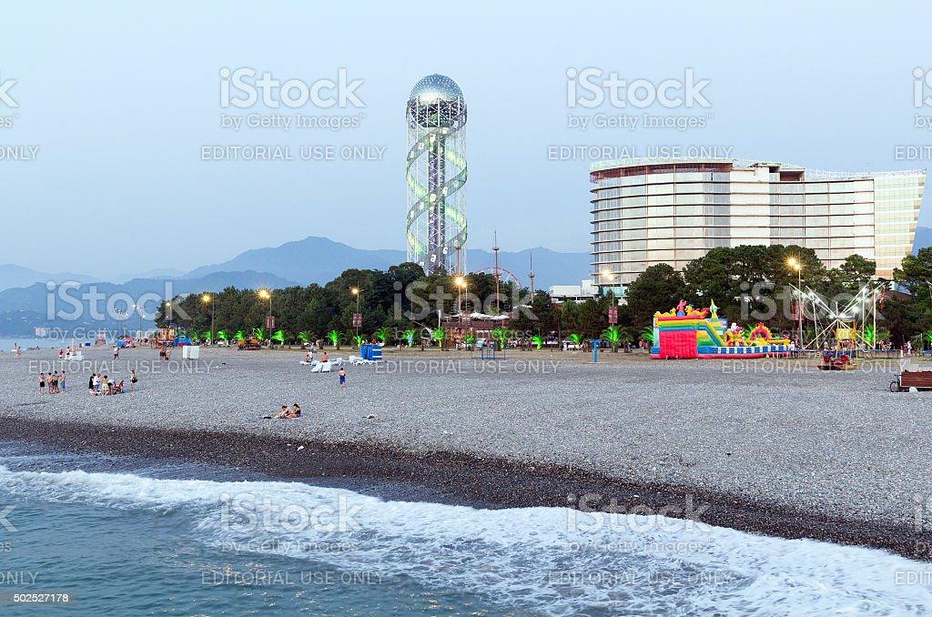 The tower of the Georgian alphabet in Batumi stock photo