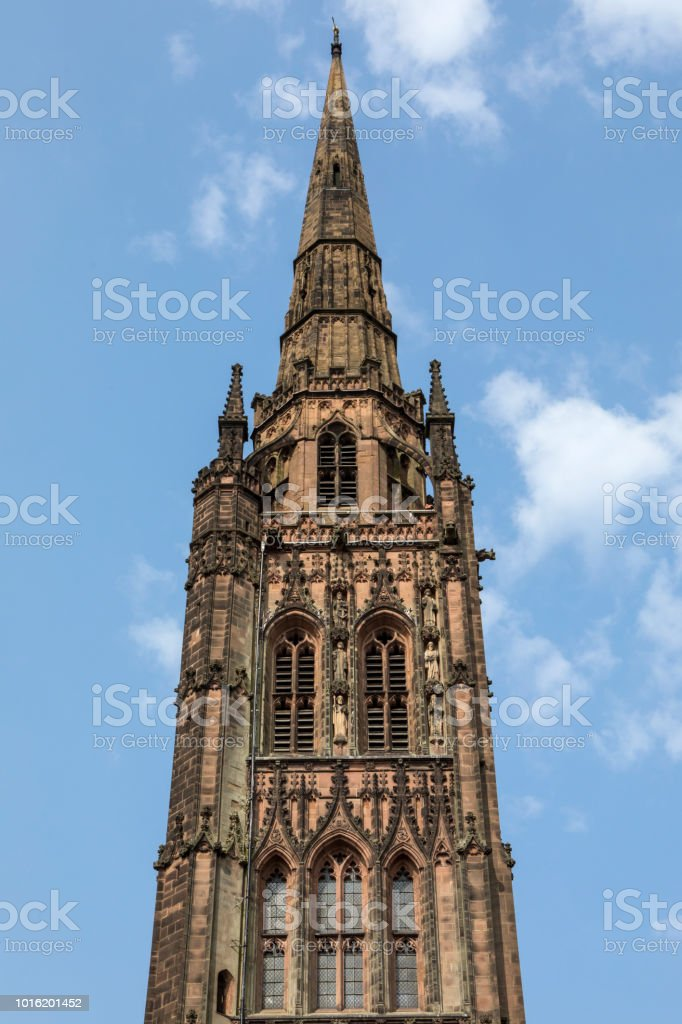 The tower of the Old Coventry Cathedral in the UK stock photo
