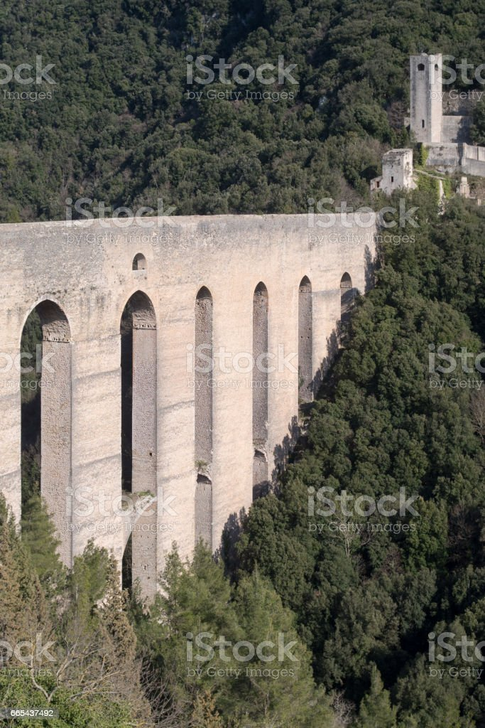 The Towers Bridge. Umbria, Spoleto, Italy stock photo