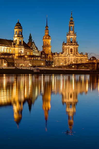 The towers of Dresden at dawn The towers of Dresden at dawn reflecting in the River Elbe zwanger stock pictures, royalty-free photos & images