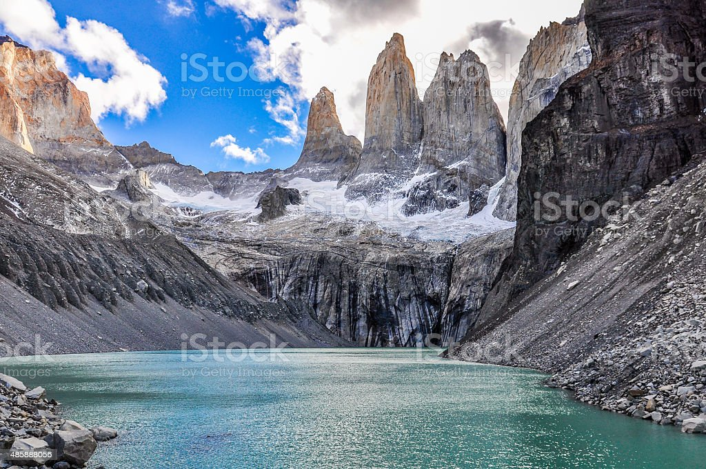 The Towers, Torres del Paine National Park, Chile stock photo