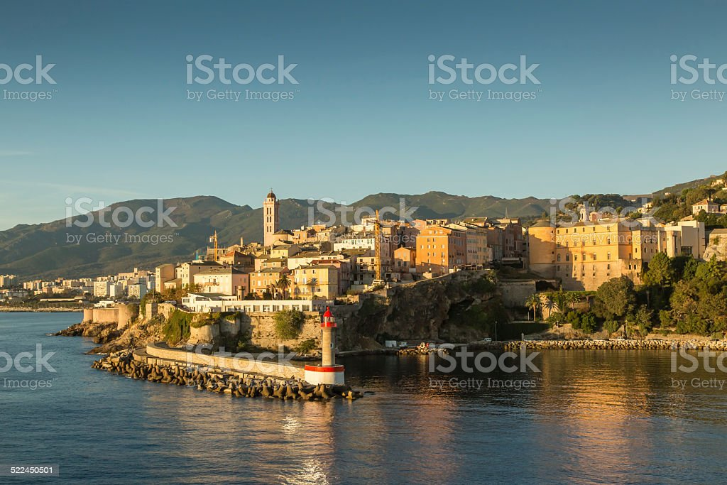 The town, citadel and harbour at Bastia in Corsica stock photo
