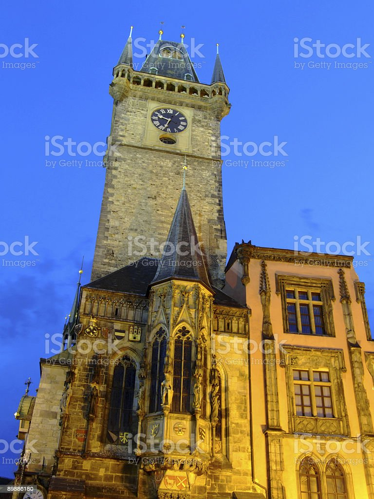 The town hall clock tower in Prague royalty-free stock photo