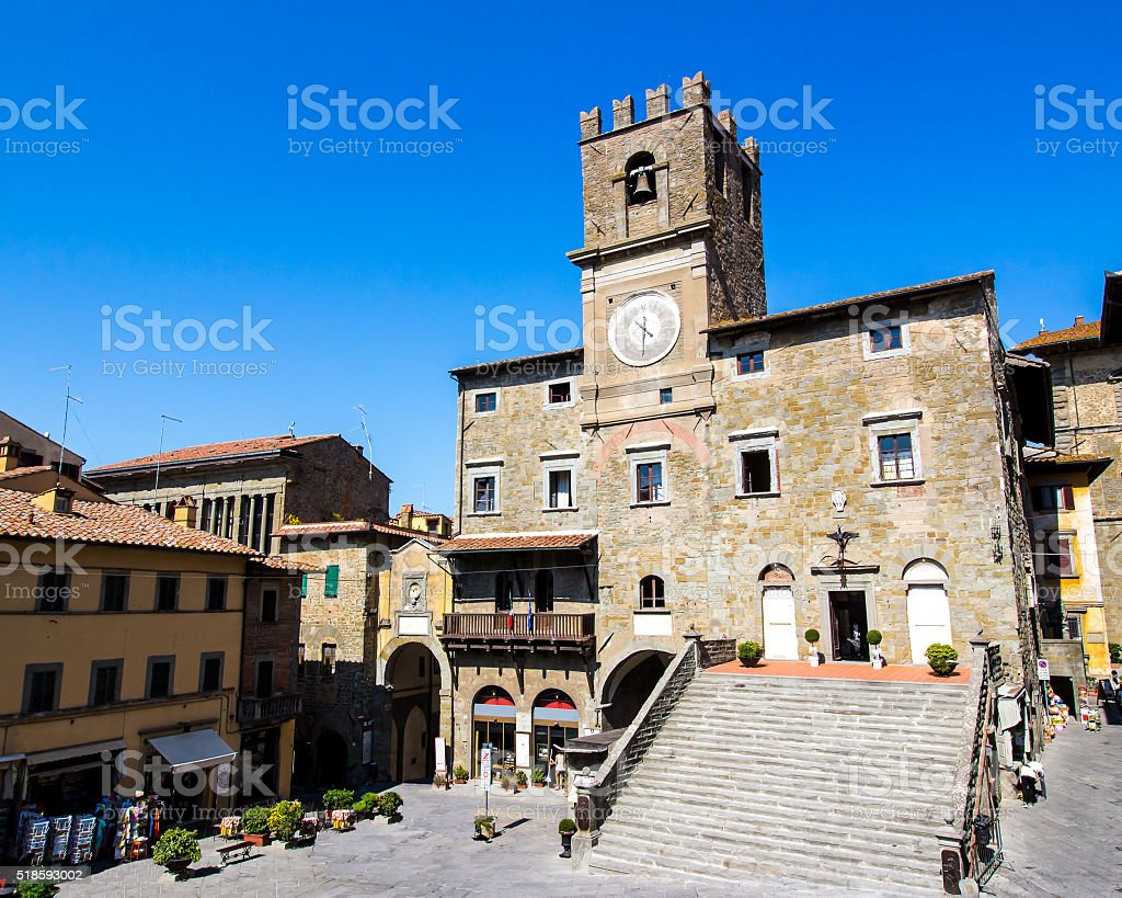 the town hall in Cortona, Tuscan , Italy stock photo