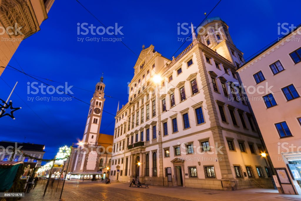 The Town Hall of Augsburg and the Augustusbrunnen fountain, Germany stock photo